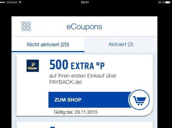 [ Payback Tchibo ] 500 Punkte Gutschrift bei Erstbestellung via Payback ( dann in der Filiale abholen)