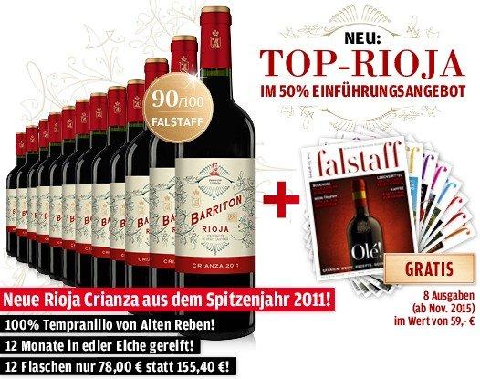 """[vinos.de] Rioja Barriton Crianza 2011 12 Flaschen + 8 Ausgaben """"Falstaff"""""""