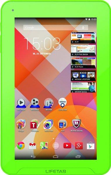 Medion LifeTab E7331 MD 98995 17,8 cm (7 Zoll) Tablet-PC (ARM Cortex A9 Quad-Core Prozessor, 1,6GHz, 1GB RAM, 16GB HDD, Android) grün für 69,90