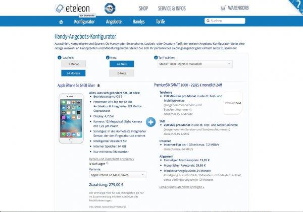 iPhone 6s 64 GByte mit 250 Freiminuten/250 FreiSMS/1 GByte Datenflat (Kein LTE)