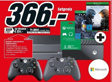 [Lokal Mediamarkt Schwerin-Game Angebote] Zb....XboxOne + 2 Controller + Halo-The Masterchief+ Halo5 Guardians+3 Monate XboxLive Gold für 366,-€....3Für2 Aktion...etc...