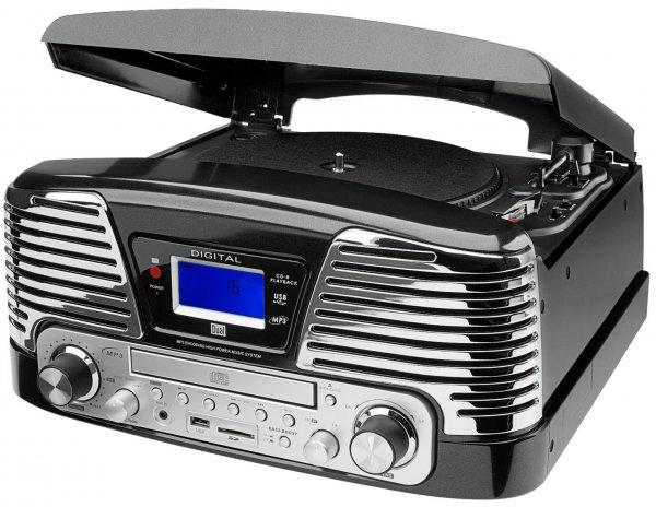 Dual NR 6 Nostalgie-Komplettsystem (UKW-Radio, Plattenspieler, Direct-Encoding, CD/MP3-Player, USB, SD-Card, Fernbedienung) schwarz @ Conrad