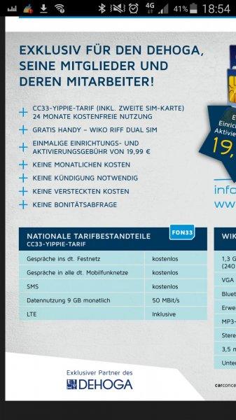 Allnet + SMS-Flat, 9 GB Flat (50 MBit) + WIKO RIFF Dual Sim Handy für 20€ (GESAMTKOSTEN!) -nur für Mitglieder (+deren Mitarbeiter) beim DEHOGA (Hotel- und Gastronomie)