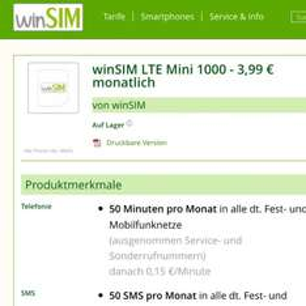 WINSIM 3,99€ LTE Mini 1000 50min / 50sms 1GB LTE (UPDATE)