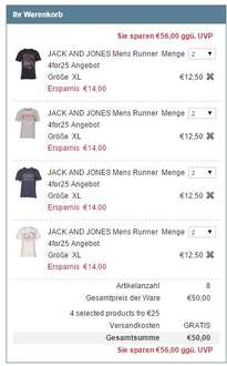 8x Jack and Jones T-Shirt 50€ inkl Versand bei M and M direct