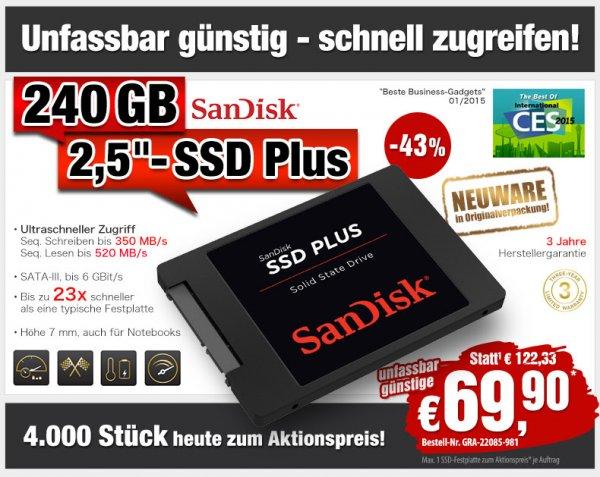 (Pearl) SanDisk SSD Plus 240GB (SDSSDA-240G-G25) für 69,90