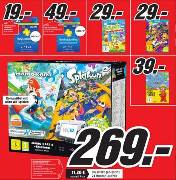 [Lokal Media Markt Augsburg] Sammelthread Neueröffnung - Wii U Premium m.2 Spielen 269€, Splatoon + Yoshi 29€