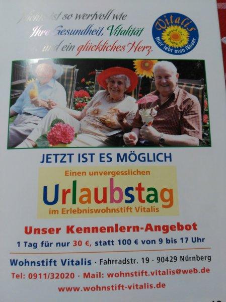 """""""Urlaubstag"""" für 30,- beim Wohnstift Vitalis (Nürnberg) - geeignet ab einem Alter von 70 Jahren"""