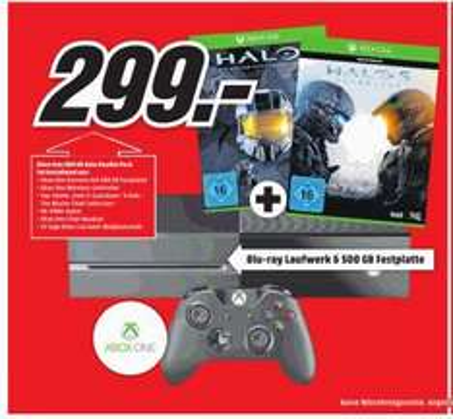[Lokal? Media Markt Osnabrück] Xbox One 500 GB + Halo 5 + Halo The Master Chief Collection - 299€