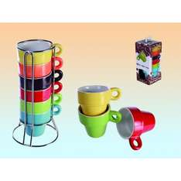 @ebay: Espresso Tassen Set von SalesFever 6 Tassen Bunt im Ständer + Geschenkbox für 1€