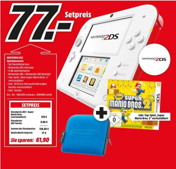 [Lokal Mediamärkte Stadthagen,Peine und Holzminden] Nintendo 2DS New Super Mario Bros. 2 Special Edition (schwarz oder weiß) + Tasche für 77,-€