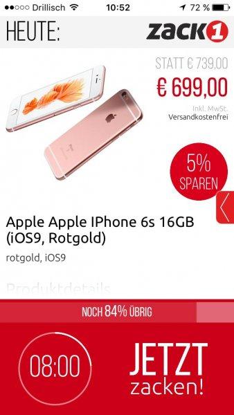 Iphone 6s Rosegold 16GB für 699€ bei ZackOne Versandkostenfrei!!!
