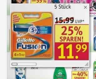 Rosmann: Gillette Fusion 5 Stück (mit Coupon nur 2,16€/ Stück)