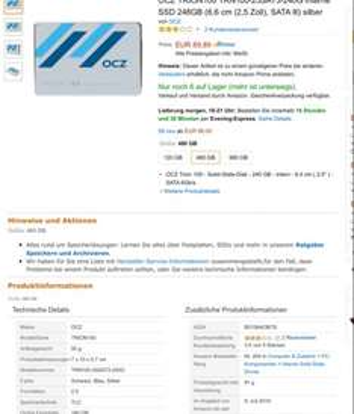 Evtl. PREISFEHLER bei Amazon: OCZ Trion 100 480 GB 2,5 Zoll SSD
