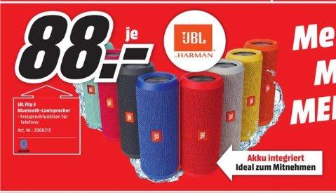 [Lokal Mediamarkt Porta] JBL Flip3 (alle Farben) - Portabler Bluetooth-Lautsprecher (16W, Bluetooth 4.1, spritzwassergeschützt) für 88,-€