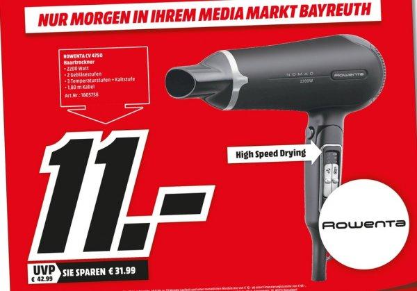 [Lokal Mediamarkt Bayreuth] Ich glaub ich krieg nen Fön......Nur Heute am Montag....ROWENTA CV4750 Haartrockner NOMAD 2200 Watt mit praktischen Klappgriff für 11,-€