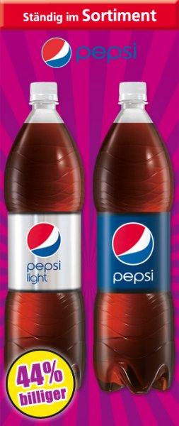 Pepsi Cola / Pepsi Light - 1,5l für 0,49€ (+0,25€ Pfand) ~ Literpreis 0,33€/l @ Norma [Alternativ: 2l für 0,69€ bei Netto Marken-Discount]