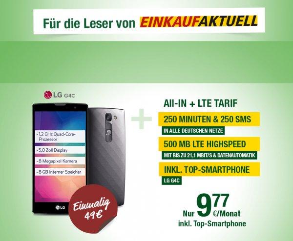 250 Min + 250 SMS 500 MB LTE + LG G4 C Smartmobil (EINKAUFAKTUELL)