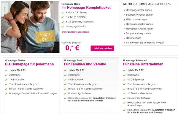 Telekom Homepage für 1 Jahr für 0 €!
