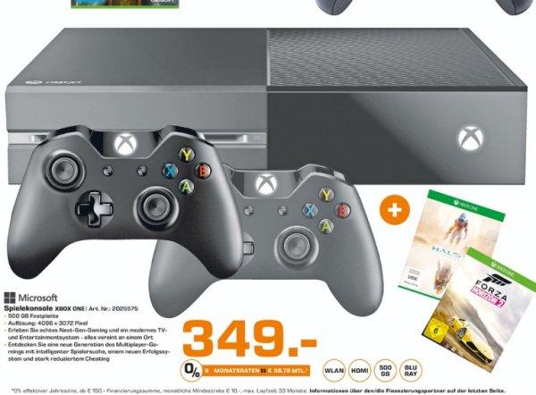 [Lokal Saturn Kleve] Nur bis einsch. Mittwoch. Xbox One 500 GB mit 2 Controllern + Forza Horizon 2 & Halo 5 für 349,-€