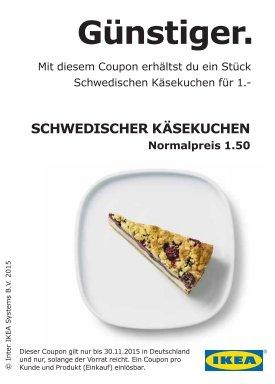 Ikea 1 Stück Schwedischen Käsekuchen für 1,00€