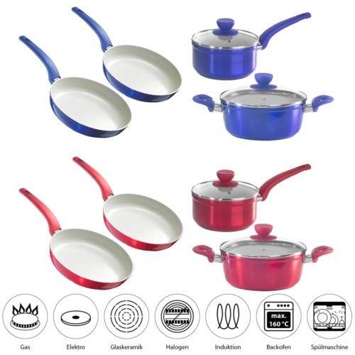 Style'n Cook – Set aus 2 Pfannen und 2 Töpfen, mit 2 Deckeln in den Farben Rot oder Blau für je Set 49,99€