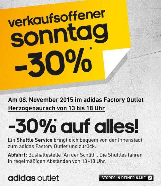 [lokal Herzogenaurach] Adidas Factory Outlet - 30% Rabatt auf alles am Sonntag 8.11.