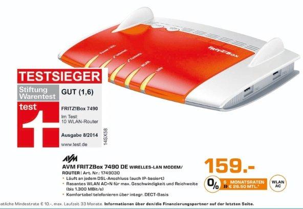 [Lokal Saturn Darmstadt und Weiterstadt] AVM FRITZBOX 7490 Wireless N Router/Modem 1300 Mbps 4-Port 100/1000 ADSL VDSL für 159,-€