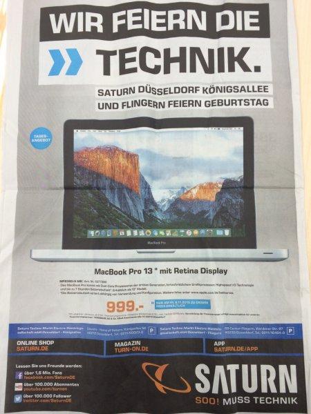 """[Saturn:Düsseldorf Kö] Macbook Pro 13"""" Retina 8GB/128SSD für 999 Euro (2015) NUR DIESEN FREITAG"""