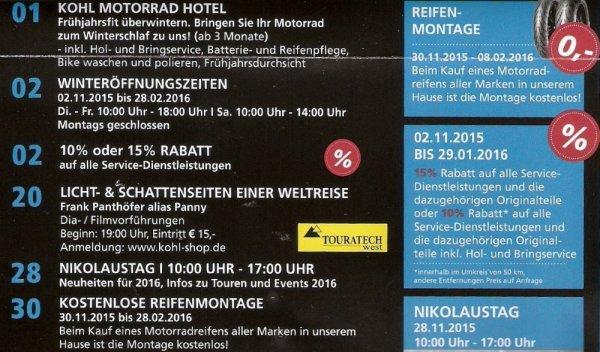 Lokal: Aachen Kohl Motorradreifen Montage kostenlos