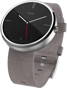 MOTOROLA Moto 360™ Smart Watch hell mit Lederarmband, Smart Watch, Chrome für 114 € @ Saturn Latenight Shopping *Wieder verfügbar*