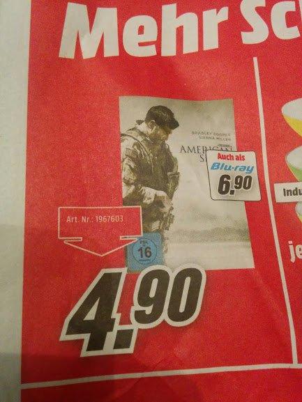 [Lokal MM Mönchengladbach] American Sniper 6,90 Euro Blu-ray und 4,90 Euro DVD - nur am 08.11.2015