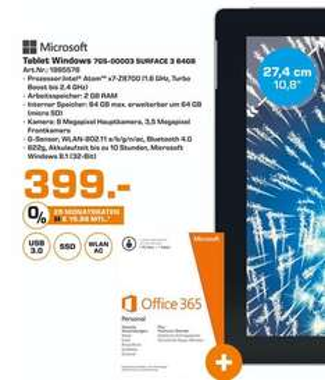 [Lokal Saturn Flensburg] Microsoft Surface 3 64 GB für 399,- €
