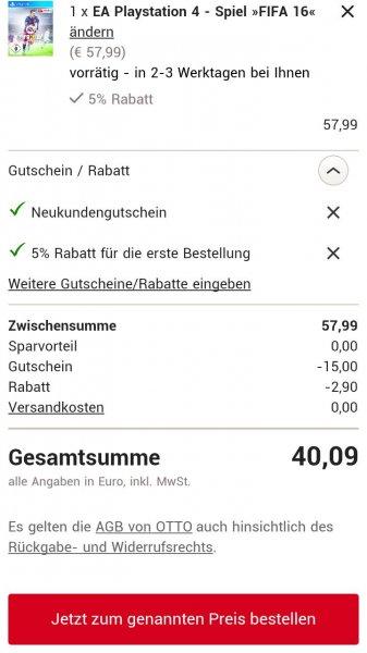 FIFA 16 PS4 bei Otto effektiv 35.09€