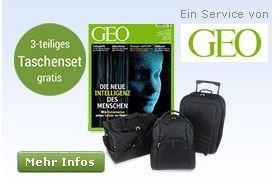 3 Ausgaben Geo im Miniabo (Ersparnis 29%) + 3 Reisetaschen für 14,90 - ideal für Weihnachten. ;-)