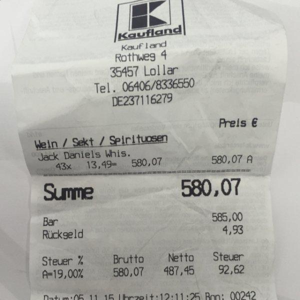 [Lokal] Jack Daniels 0,75 l 13,49€ Kaufland Lollar