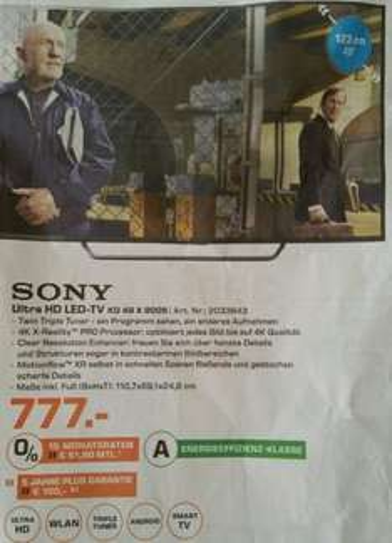 [Lokal Saturn D] Sony KD-49X8005 4K UHD Fernseher