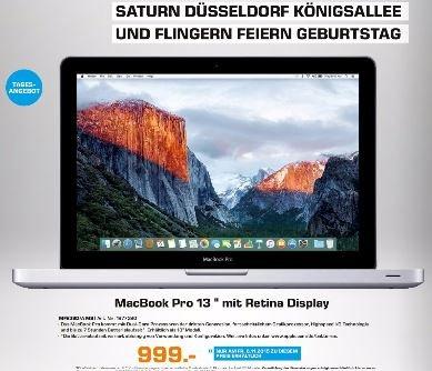 "[Lokal Saturn D] Apple MacBook Pro 13"" Retina 2015 / Tagesangebot nur am 6.11.2015"