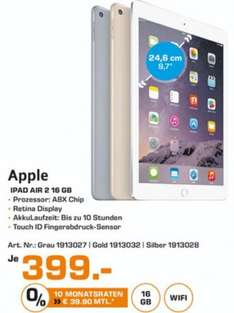 [Saturn Stuttgart] Apple iPad Air 2 16GB Wifi (idealo.de 420/440€ je nach Modell)