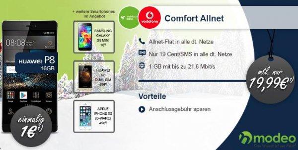 Huawei P8 mit Vodafone Comfort Allnet Aktion 20eur/monat