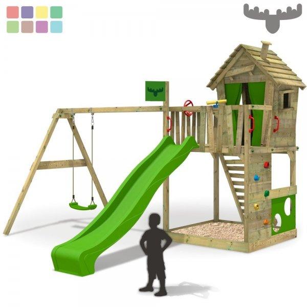 FATMOOSE HappyHome Hot XXL Spielturm Baumhaus Kletterturm Schaukel Rutsche Holz, 579,90 EUR @ ebay