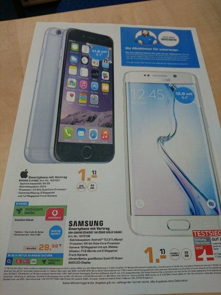Iphone 6 64 GB oder Samsung S6 Edge 32 GB im Saturn Markt Bergisch Gladbach / Bis zum 11.11.2015