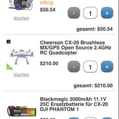 [Tinydeal CN] Quadrocopter Cheerson CX-20 / 2x BM 3000 /2D Gimbal 345€ inkl. Zoll!