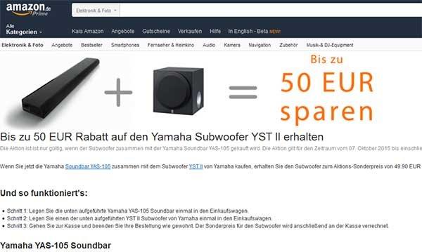 50 Euro beim Kauf eines Yamaha Subwoofer + Soundbar sparen