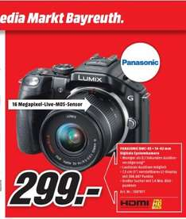 [LOKAL MM Bayreuth] Kamera Panasonic DSLM LUMIX G5 + 14 - 42 mm Objektiv für 299€ (Idealo: 345€)