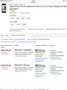 "Amazon [Marketplace] iPhone 5s (64 GB) ab 298,49, iPhone 6 (64 GB) ab 435, - gebraucht - ""sehr gut"""