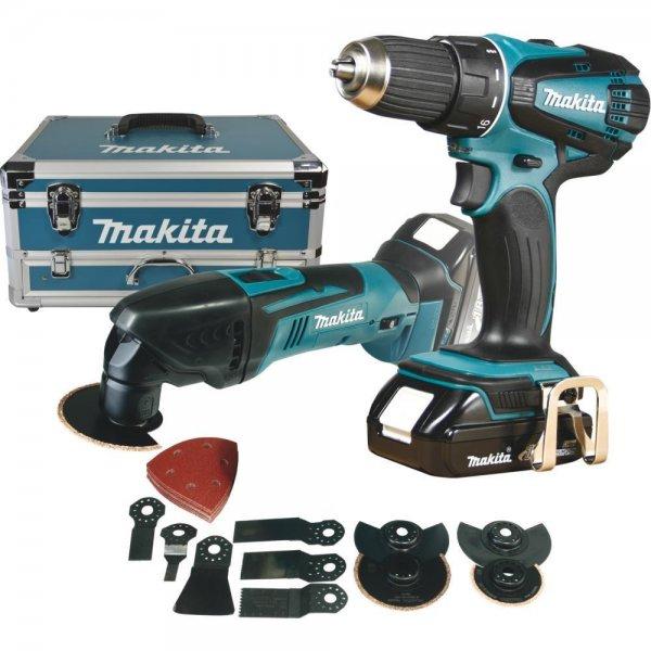 Makita Akku-Set 18 V DLX2031YX1 im Koffer mit DDF456RHE, DTM50Z und Zubehör