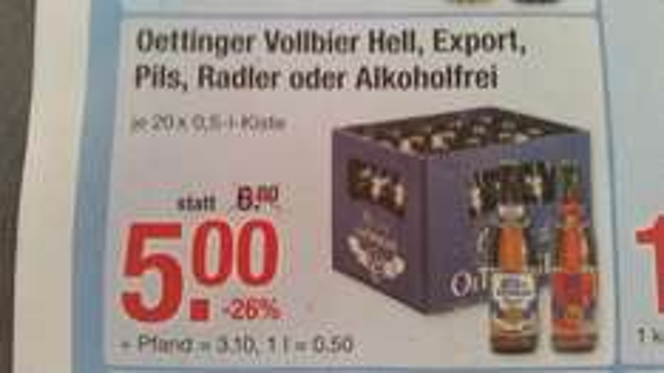 [V-Markt Ulm] Oettiner Vollbier Hell, Export, Pils, Radler oder Alkoholfrei für 5,00 €