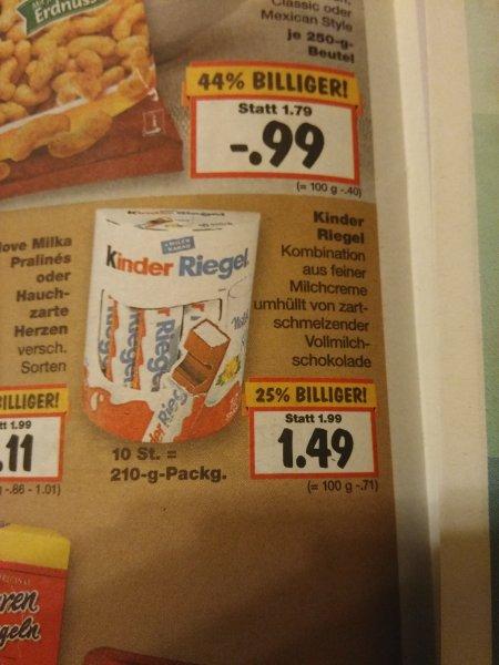 Kaufland: Kinderriegel 10 er für 1,49 EUR (0,49 € mit Coupon)