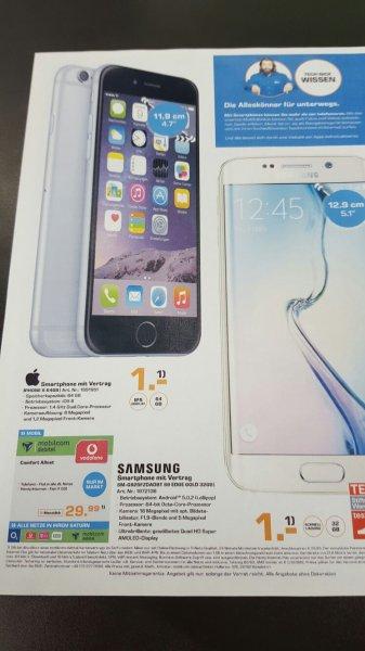 IPhone 6 64 GB für 1 Euro oder Samsung S6 Edge 32 Gb für 1 Euro mit Vertrag mobilcom debitel D1 Netz 29,99 monatlich All-Net Flat + 1 GB 21,6 Mbit Lokal Saturn Bergisch Gladbach